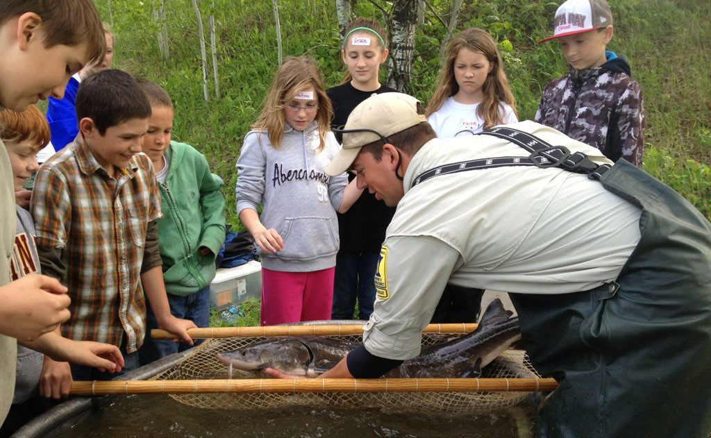 Fisheries specialists make live presentations to students at  a wide variety of aquatic education events.