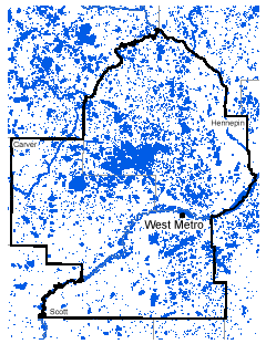 Map of West Metro work area.