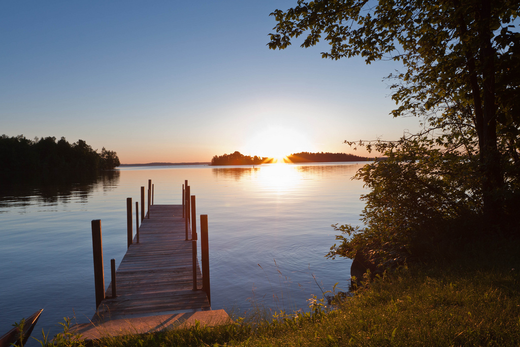 Sunset over a dock on northern Minnesota's Lake Vermilion
