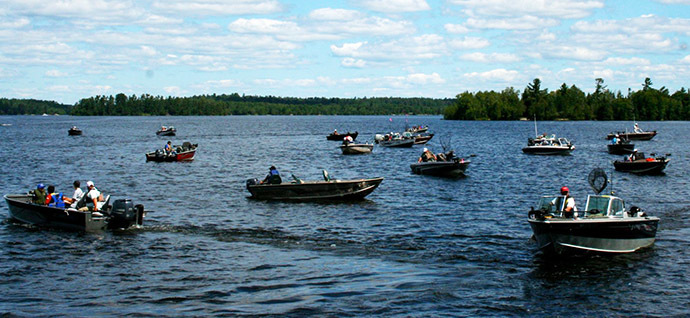 Boats fishing on Lake Vermilion in summer