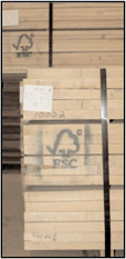 photo: 2x4 lumber showing FSC logo