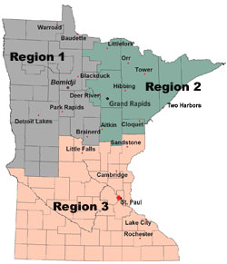 Minnesota Map showing Forestry Regions