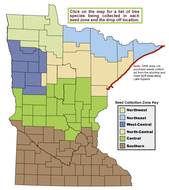 graphic: Map of Minnesota showing seed zones