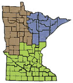 graphic of Minnesota showing forestry locations