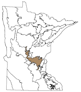 map: Minnesota map showing the location of Anoka Sand Plain subsection