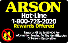 graphic for Arson Hotline 1-800-723-2020