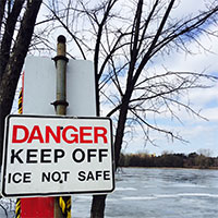 Danger -keep off ice sign