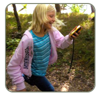 girl geocaching in a Minnesota state park