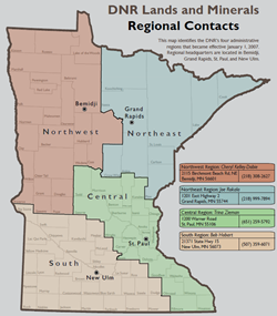 Lands and Minerals Regional Contacts Map