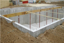 Concrete foundation for house shown