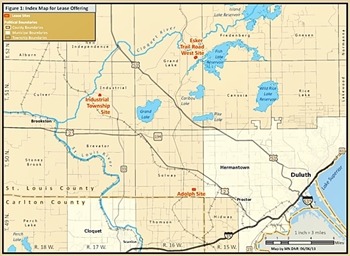 Index map for three gravel sites near Duluth for lease bid offerings