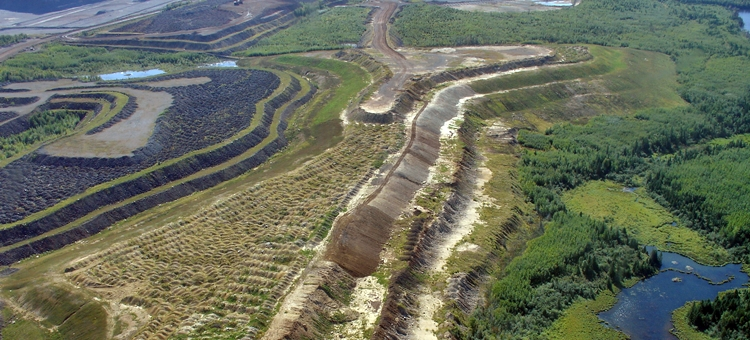 View of actively reclaimed iron ore mine lands