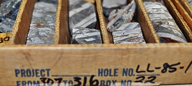 Drill Core Library core box from drill hole LL-85-1