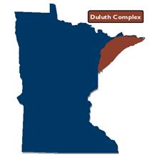 Locator map showing Duluth Complex geologic terrane in northeast minnesota
