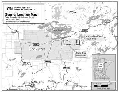Small scale graphic showing project area in relation to northern minnesota