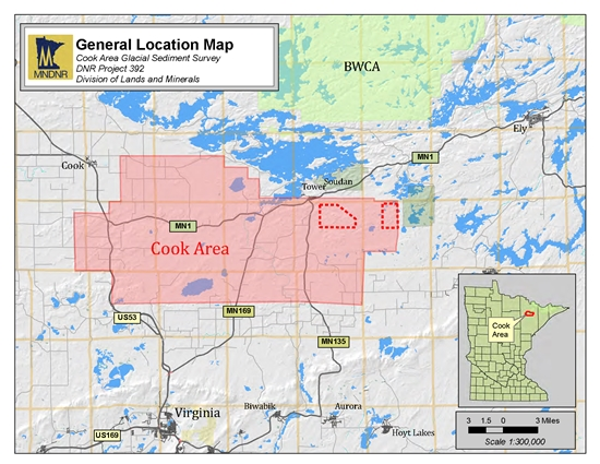Map showing Gold in Till sampling survey area for DNR project 392, Cook area, St. Louis County, Minnesota