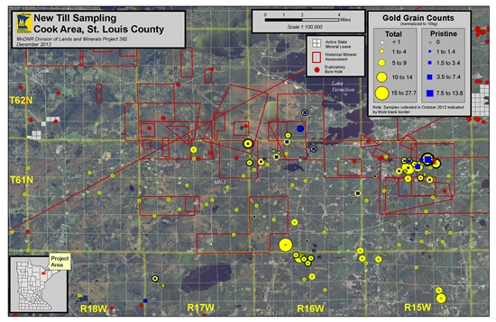 Map showing sample locations for Gold in Till sampling DNR project 392, Cook area, St. Louis County, Minnesota