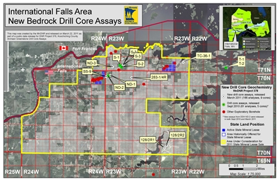 project location map for Koochiching County Archean Greenstone Drill Core Assays