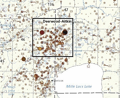 Zoomed in detailed map of lake and stream sediment samples near Aitkin, Minnesota