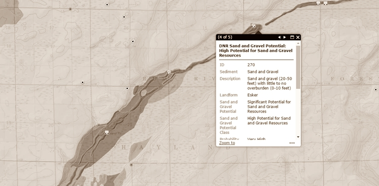 Screen shot of Aggregate Resource Mapping Program Web Map Application