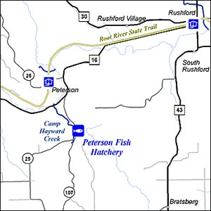 Peterson State Fish Hatchery location map.