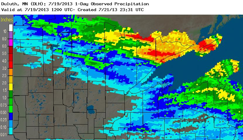 Radar-based precipitation estimates for a 24 hour period, ending July 19th, 2013