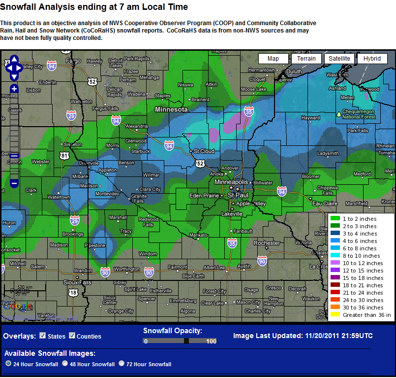 Map of snow totals for November 19, 2011