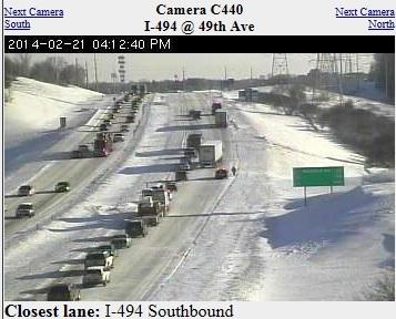 Semi Stuck on I-494 on February 21, 2014