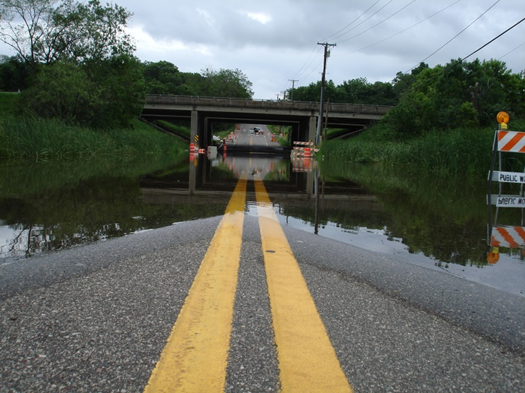 Road Underwater in Ramsey County north of St. Paul in June 2014