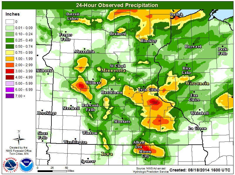 Rainfall for the 24-hour period ending August 18, 2014
