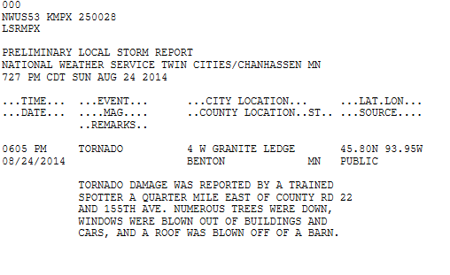 National Weather Service Local Storm Report of the Benton County Tornado