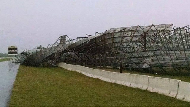 Grandstand Damage at the Brainerd International Raceway