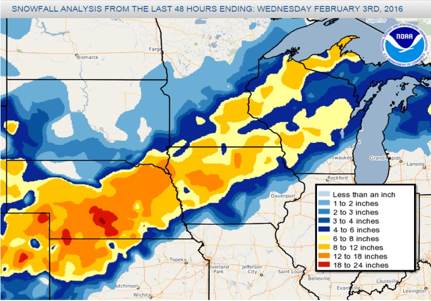 48-Hour Snowfall Totals Ending February 3, 2016