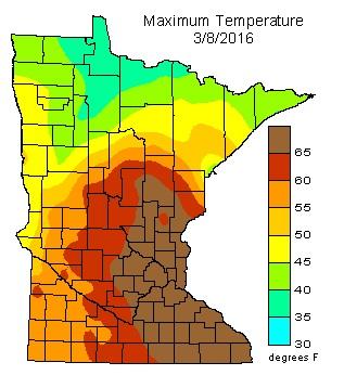 Maximum Temperatures on March 8, 2016