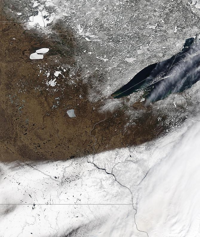 Satellite Image from March 24, 2016 shows the snow on the ground from the March 23 storm