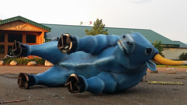 Babe the Blue Ox blown over
