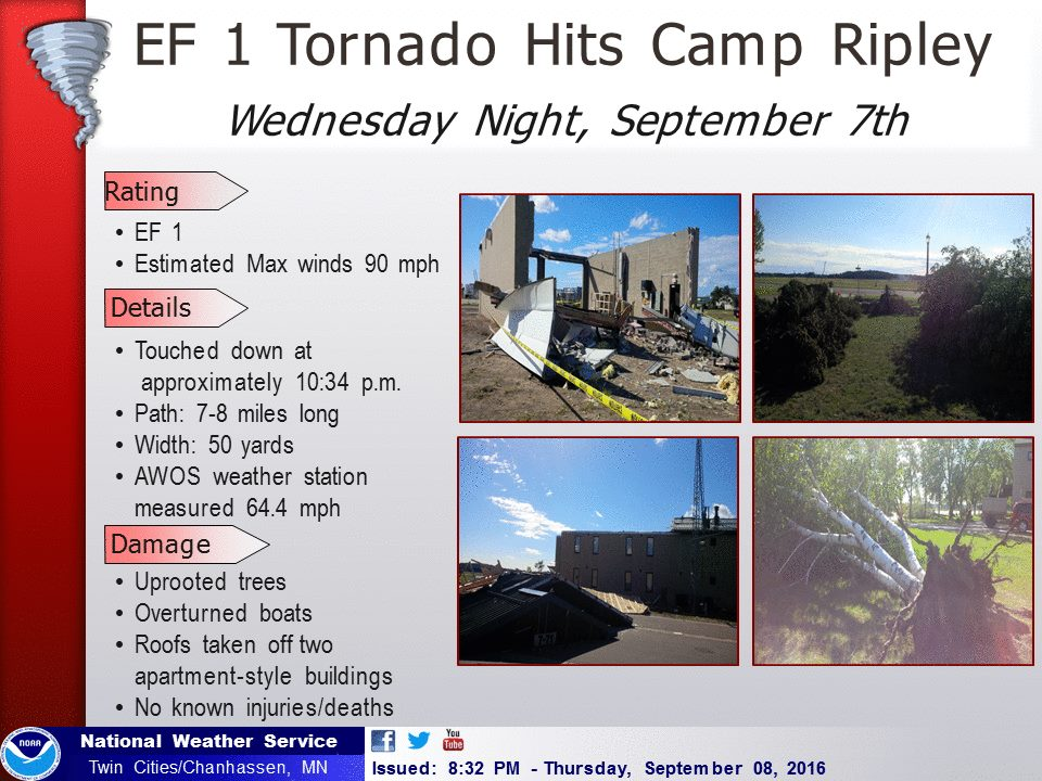 Summary of the September 7, 2016 Tornado from the National Weather Service