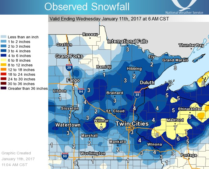 24-Hour Snowfall Totals Ending January 11, 2017