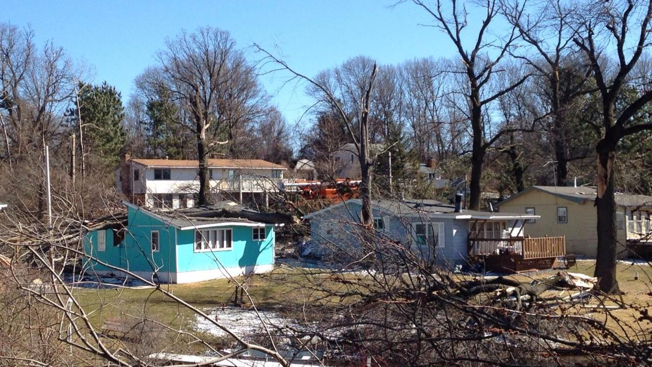 Damage to homes near Elk Lake in Sherburne County on March 6, 2017.