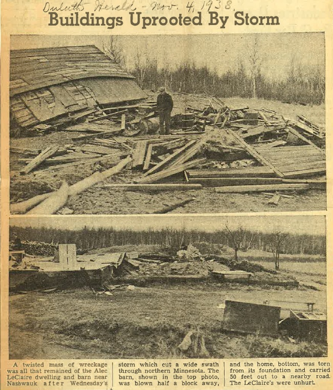 November 2, 1938 Tornado (note in the caption it says there were no injuries. There was one person injured.)