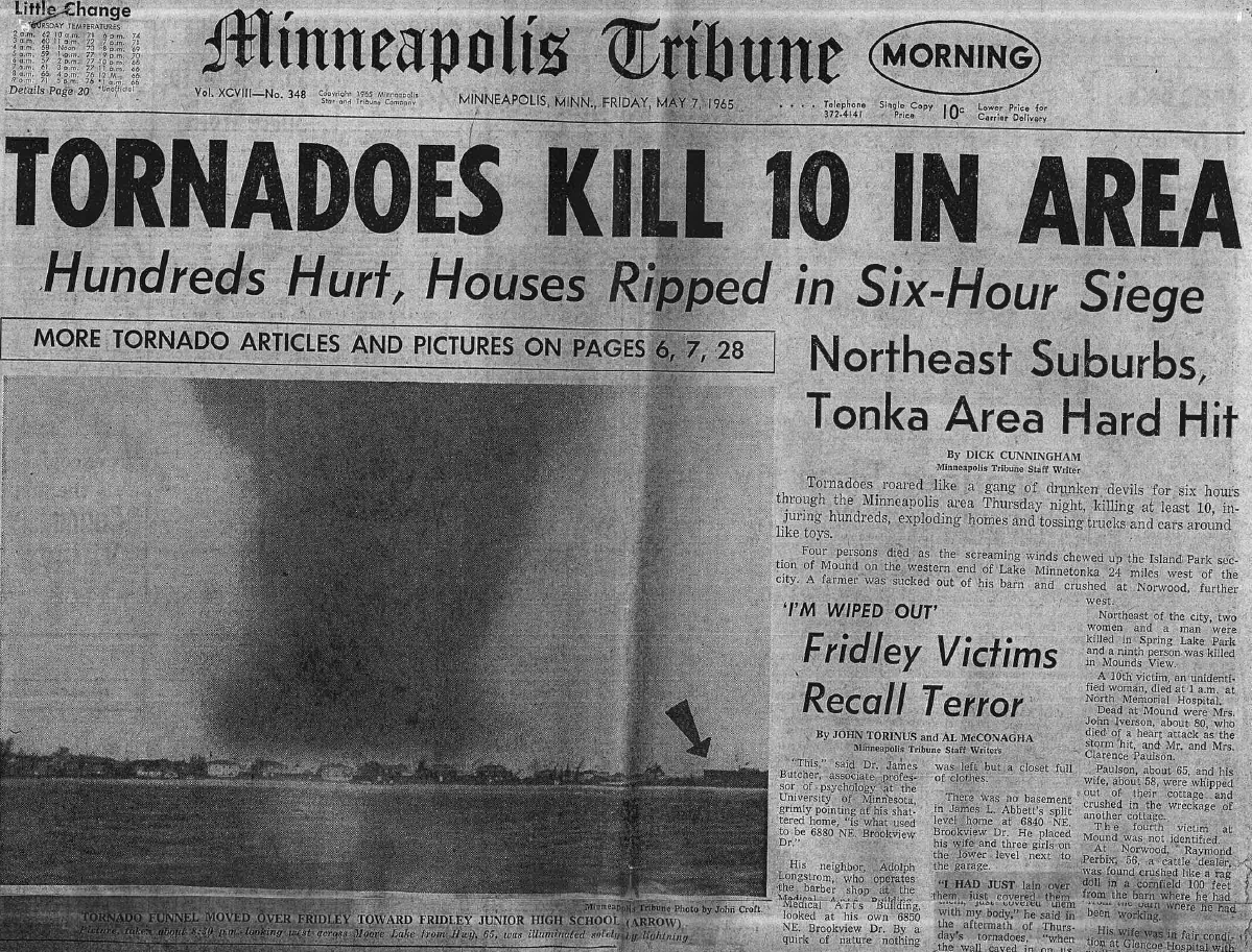 Headline of Minneapolis Tribune day after May 6, 1965 Tornadoes. The tornado photo was taken at 8:30pm and was illuminated by lightning.
