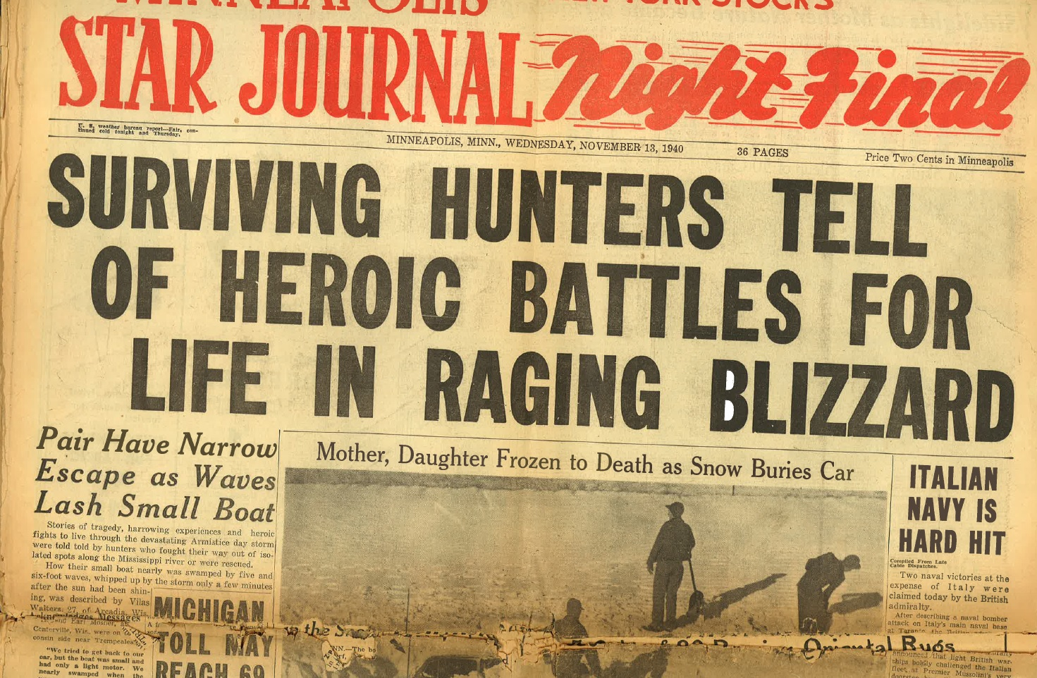 Minneapolis Star Journal Headline: November 13, 1940