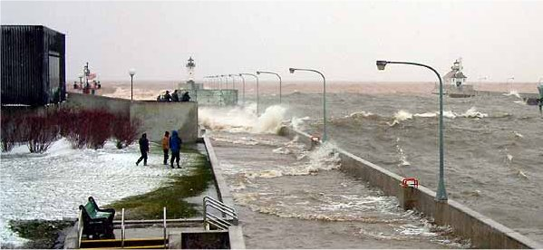 Large Waves at Canal Park in Duluth