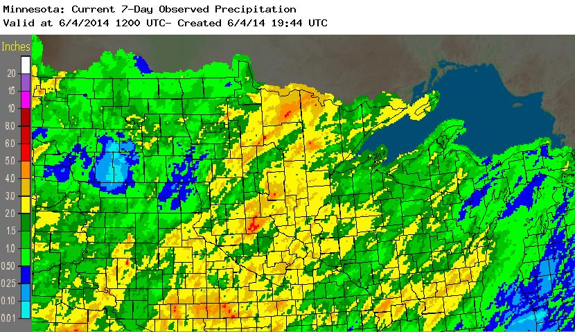 Seven Day Rainfall Totals from May 28-June 3