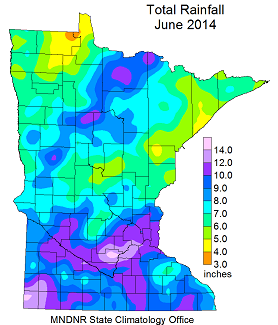 Preliminary rainfall totals for June 2014