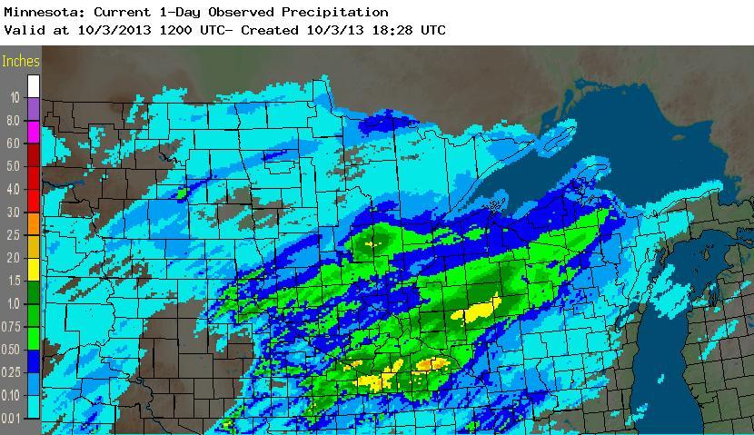 Radar-based precipitation estimate for the 24-hour period ending at 8:00 AM - Thursday, October 3, 2013