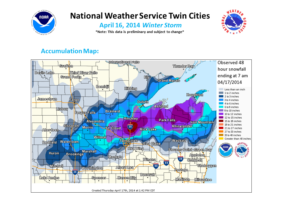 Snowfall Totals for April 3-4 storm