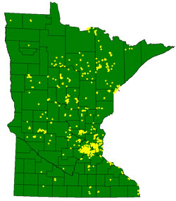 Map of purple loosestrife insect release sites in Minnesota
