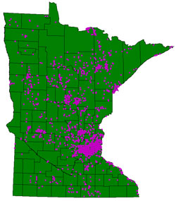 Map of purple loosestrife infestation in Minnesota