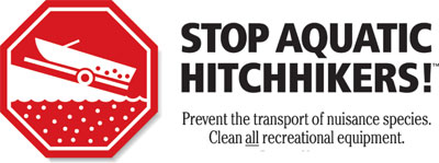 stop aquatic hitchhikers! Prevent the transport of nuisance species. clean all recreational equipment.